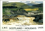 Fishing in New Galloway, Kirkcudbrightshire. LMS/LNER Vintage Travel Poster by Norman Wilkinson